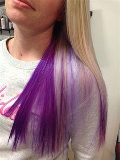 love my purple hair! Blonde on top an purple underneath. - love my purple hair! Blonde on top an purple underneath. Purple Hair Tips, Hair Color Purple, Color Red, Pink Purple, Cute Hair Colors, Pretty Hair Color, Blonde Underneath Hair, Under Hair Dye, Peekaboo Hair