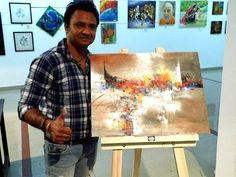 Abstract painting LIVE demo part 2 / Group show Lalitkala Academy Gujarat - YouTube