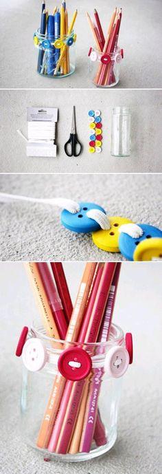 DIY Glass Jar and Buttons Pen Holder