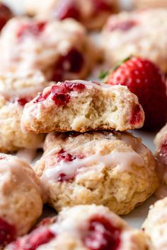 These strawberry biscuit cookies are like homemade biscuits and soft sugar cookies combined. Filled with real strawberries and a buttery flaky texture, they're topped with crunchy sparkling sugar and sweet strawberry icing. Easy cookie recipe on sallysbakingaddiction.com...