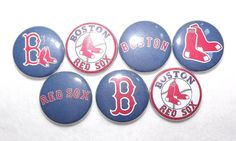 Boston Red Sox MLB 1 Round  Buttons by BugsButtons on Etsy