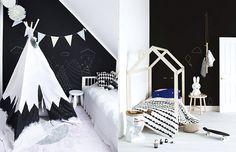 Decoração de interiores, inspiração, quarto, sala, preto e branco, p&b, black and white, ideia, arquitetura, design, criança, montessoriano // Matéria completa em casaecozinha.com :-)