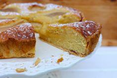 Cognac poached pear and frangipane tart