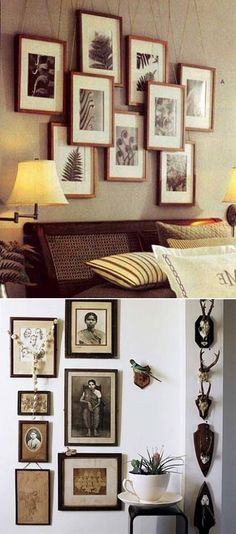 Rustic Hanging photo frames ~ I like the layered look too. Keep balance with same frame throughout. Modern Crafts, Diy Home Crafts, Diy Home Decor, Diy Interior, Luxury Interior, Hanging Photos, Diy Frame, Diy Wall Art, Creative Home