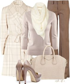 """Plaid Winter White Coat"" by styleofe on Polyvore"