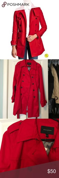 Banana Republic Red Trench Coat Cute jacket for the rainy weather or just to wear on a normal fall/spring day! Banana Republic Jackets & Coats Trench Coats