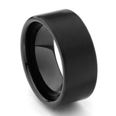 9mm Flat Black Cobalt Free Tungsten Carbide COMFORT-FIT Wedding Band Ring for Men and Women