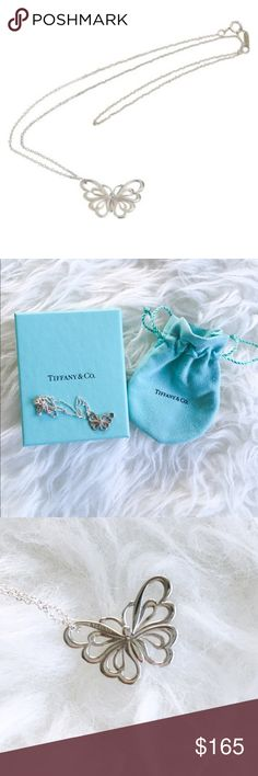 """Authentic Tiffany & Co. Nature Butterfly Necklace Unused and in excellent condition. Authentic. """"Pendant in sterling silver. Size small on 18"""" chain."""" Comes with box and pouch. Actual product shown in photos 2-4. No trades! Tiffany & Co. Jewelry Necklaces"""