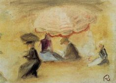 Pierre Auguste Renoir (1841-1919) - On the Beach, Figures under a Parasol - 1898 - Private Collection
