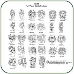 Fun Wood Spirits and Greenmen Pattern Package by Lora S. Irish -Classic Carving Patterns
