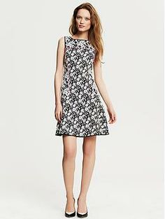 Piped Floral Fit-and-Flare Dress