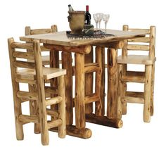 Handcrafted, rustic, top quality aspen & pine log furniture, sustainable reclaimed wood furniture, cabin decor and lodge furniture sold online. Counter Height Pub Table, Pub Table Sets, Solid Wood Dining Table, Dining Table In Kitchen, Extendable Dining Table, Dining Furniture, Rustic Furniture, Cedar Furniture, Lodge Decor