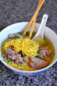 Hu Tieu Mi - Vietnamese Pork Noodle Soup Vietnamese Soup, Vietnamese Cuisine, Vietnamese Recipes, Pork Noodle Soup, Pork Noodles, Noodle Soups, Asian Noodles, Entree Recipes, Soup Recipes