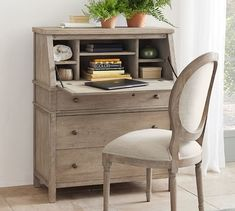 Charming like an antique, but functional like a modern piece, this secretary desk was designed to live with our bedroom set of the same name – making it the ideal piece for a multipurpose space. Home Office Desks, Office Furniture, Furniture Ideas, Desk Ideas, Office Ideas, Office Inspo, Office Setup, Kitchen Office, Space Furniture