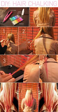 diy - hair chalking