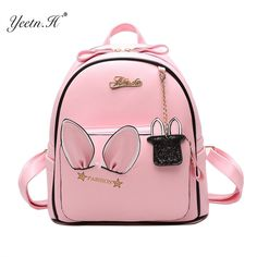 Cheap ears backpack, Buy Quality leather backpack directly from China backpack for teenagers Suppliers: Yeetn.H Cute Ears Backpack Women PU Leather Backpacks For Teenage Girls School Bags Female Solid Korean Travel Rabbit Bag Stylish Backpacks, Cute Backpacks, Girl Backpacks, Leather Backpacks, School Bags For Girls, Girls Bags, Backpack For Teens, Backpack Bags, Fashion Bags
