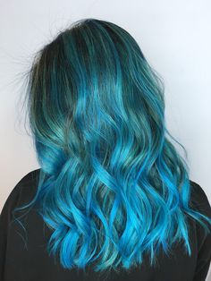 Blue Ombre and Balayage Hair Color, blue highlights , Color Your Hair, Ombre Hair Color, Hair Color Balayage, Cool Hair Color, Grey Ombre Hair, Blue Hair, Ash Blonde Hair With Highlights, Blue Highlights, Best Hair Dye