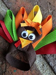 Baby Toddler Girl Thanksgiving Turkey Hair Bow Clip Orange Green Burgandy Yellow | eBay
