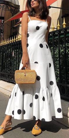 Polka dot long maxi dress Summer 2019 sleeveless ruffles women dress Big dots casaul bohemian dresses Boho beach vestidos mujer, White / S Trendy Dresses, Sexy Dresses, Fashion Dresses, Dresses For Women, Maxi Dress Styles, Fashion Fashion, Halter Dresses, Strapless Maxi, Wrap Dresses