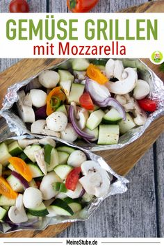 Gemüse-Päckchen mit Mozzarella für den Grill – Meine Stube Recipe for grilling. Colorful vegetables in a packet for the grill. Among other things with mozzarella, zucchini and mushrooms. Ideal as a lunch or just as a side dish. Bbq Catering, Mozzarella, Restaurant Barbecue, Colorful Vegetables, Grilled Meat, Evening Meals, Pasta Recipes, Potato Salad, Grilling