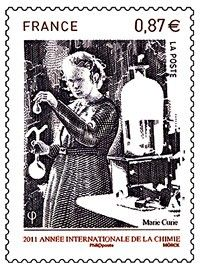 Sello: International Year of Chemistry- Marie Curie (Francia) (International Year of Chemistry) Yt:FR 3946 Marie Curie, Nobel Prize Winners, Fun Mail, Postage Stamp Art, Science, Small Art, Women In History, Stamp Collecting, Chemistry