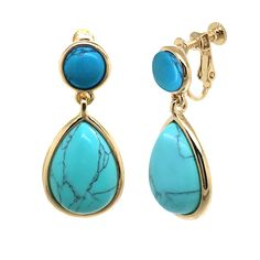 Teardrop Multi Color Blue Resin Fashion Clip on Earrings * Find out more about the great product at the image link. (This is an affiliate link and I receive a commission for the sales)