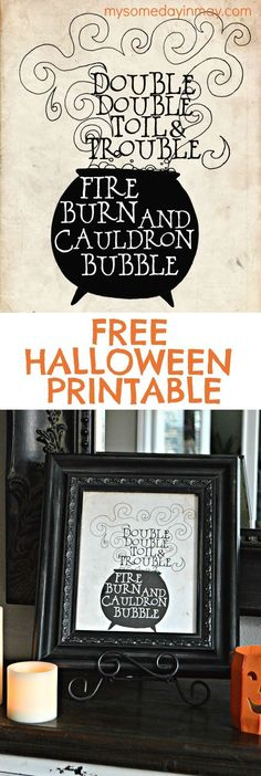 Double Toil and Trouble Perfect Free Printable for Halloween decor!Perfect Free Printable for Halloween decor! Halloween Quotes, Halloween Signs, Retro Halloween, Holidays Halloween, Halloween Crafts, Happy Halloween, Halloween Witches, Halloween Cookies, Spooky Halloween Pictures