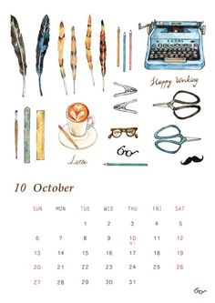 Paint Calendar, October Sun, Graphic Illustrations, 9 And 10, Latte, Map, Painting, Location Map, Painting Art