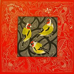 Goldfinches on Red