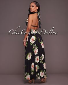 Chic Couture Online - Adeline Black Floral Print High-Low Halter Maxi Dress, (http://www.chiccoutureonline.com/adeline-black-floral-print-high-low-halter-maxi-dress/)