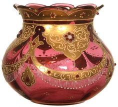 CRANBERRY ART GLASS VASE WITH HEAVY GOLD AND APPLIED JEWELS
