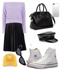 """Untitled #363"" by mirun on Polyvore featuring Cusp by Neiman Marcus, Boohoo, Converse, Givenchy, adidas, Le Specs and pastelsweaters"