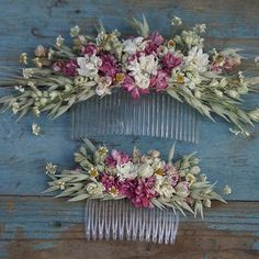 rustic country dried flower hair comb by the artisan dried flower company… Flower Head Wreaths, Hair Wreaths, Flowers In Hair, Dried Flowers, Wedding Flowers, Long Hair Tips, Flower Company, Idee Diy, Flower Farm