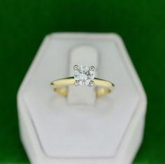 Two-Tone Gold 0.57ct Genuine Round Diamond Solitaire Engagement Ring – MoneyMan Pawn