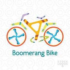 Just nine boomerangs and two circles feature a bicycle and encourage cycling for fun and exercise.