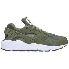 Huarache Run Green Fabric Sneaker ($135) ❤ liked on Polyvore featuring men's fashion, men's shoes, men's sneakers, green, mens green shoes, nike mens shoes, nike mens sneakers and mens rubber sole shoes