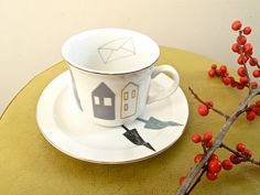 Cup and saucer house with pine trees by kimslittlemonsters Kitchenware, Tableware, Pine Tree, Earthenware, Cup And Saucer, Tea Time, I Shop, Tea Cups, Ceramics