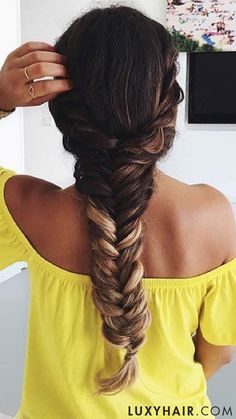 DIY Fishtail on long ombre hair