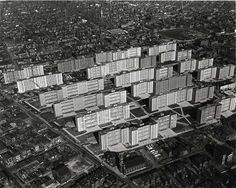 Aerial view of Pruitt-Igoe from the south. St. Bridget of Erin Church is at bottom center.
