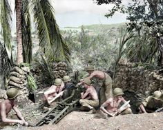 Photo of the First Marine Division Guadalcanal, August 1942 - A 75mm pack howitzer section of the 11th Marines occupies a former Japanese emplacement in the Lunga perimeter .http://www.ww2gyrene.org/1stmardiv_photos.htm | DEFENSE DEPT PHOTO (MARINE CORPS) 50515