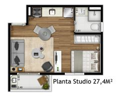 Small Apartment Design, Small House Design, Small Space Living, Small Spaces, Flat Plan, Studio Floor Plans, Tiny Apartments, Apartment Plans, Best House Plans