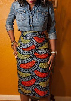 Urban Chic: How to Mix Denim + Wax Print — JokotadeStyle African Inspired Fashion, African Print Fashion, Fashion Prints, African Prints, African American Fashion, African Fashion Skirts, African Attire, African Wear, African Dress