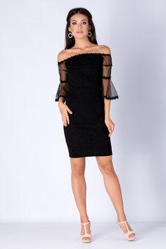 Rochie Melinda Neagra - Rochie neagra din lycra cu maneci trei sferturi din tull, perfecta pentru serile in care vrei sa ai o aparitie de neuitat. Materialul deosebit, decolteul tip barcuta precum si manecile tip clopot vor conferi tinutei tale stil si sigur vei atrage priviri asupra ta. Fasion, Shoulder Dress, Dresses, Vestidos, The Dress, Dress, Gowns, Clothes, Dress Outfits
