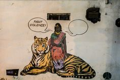 Eye catching street art from India with a message that violence isn't the answer. Revitalises Gandhian thought towards ahimsa