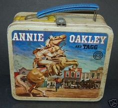Vintage Annie Oakley Metal School Lunchbox -  Aladdin