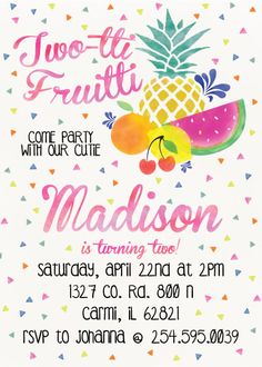 TwoTi Fruiti Come party with our cuties 2nd by TagsforTots on Etsy