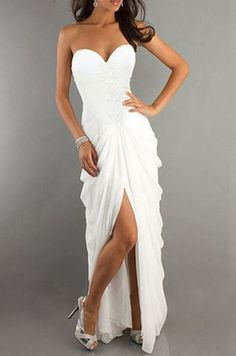 Noble Strapless Irregular Pleated High Slit White Chiffon Maxi Dress