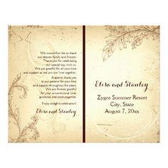 Vintage beige scroll leaf folded wedding program