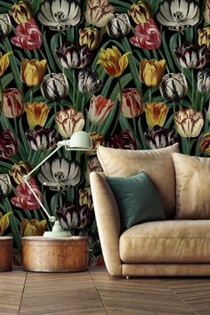 A stunning matt digital image wallpaper mural of large scale flamboyantly coloured tulip blooms on a dark anthracite black background.