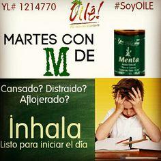 Martes con M de MENTA!!!! Puedes usarlo antes de mandarlos a la escuela o cuando estan estudiando o realizando sus tareas!  Información en http://www.oile.mx